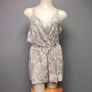 BCBGeneration Floral Confetti Romper Cross Back